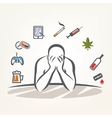 addict man and set of addiction symbols outlined vector image