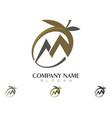 m letter olive logo template vector image