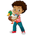 African american boy holding a duck vector image vector image