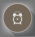 alarm clock sign white icon on brown vector image vector image