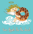Angel eating big donut vector image vector image