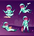 astronauts in weightlessness zero gravity planet vector image vector image