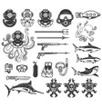 big set of diving icons diver equipment weapon vector image vector image