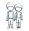 blurred blue contour faceless couple girl with vector image vector image