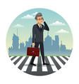 business man talk walking street urban background vector image