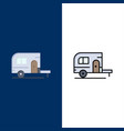 caravan camping camp travel icons flat and line vector image vector image