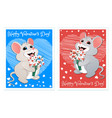 cards with a white mouse vector image vector image