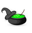 cauldron of boiling green potion for halloween vector image vector image