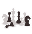 chess figures set black and white international vector image vector image