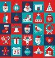 christmas and new year background icons set vector image vector image