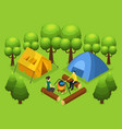 colorful backpacking recreation concept vector image vector image