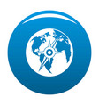 compass on earth icon blue vector image