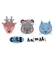 cute cartoon little animals childish print for vector image vector image