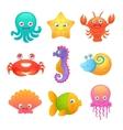 Cute sea animals vector image vector image