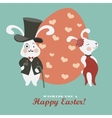 easter bunnies and easter egg vector image