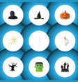 flat icon celebrate set of witch cap tomb vector image vector image