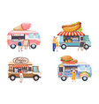 food truck flat set vector image