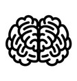 front side brain icon outline style vector image vector image