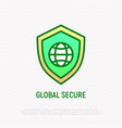 global secure thin line icon shield with globe vector image vector image