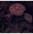 Grungy dark retro background with roses vector image vector image
