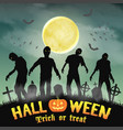 halloween silhouette zombie in a night graveyard vector image vector image