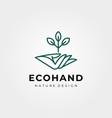 hand and tree logo symbol line art design vector image vector image