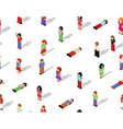 Isometric pixel people seamless pattern vector image vector image