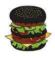 japanese black burger vector image vector image