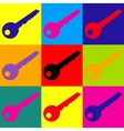 Key sign Pop-art style icons set vector image
