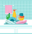 kitchen sink with dirty plates pile of dirty vector image vector image