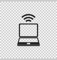 laptop and wireless icon on transparent background vector image vector image
