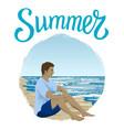 man sitting at a beach vector image vector image