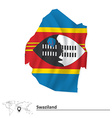 Map of Swaziland with flag vector image vector image