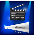 Metal megaphone and movie clapper vector image