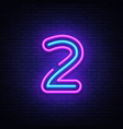 number two symbol neon sign number two vector image