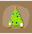 paper sticker on stylish background Christmas Tree vector image vector image