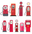 petrol dispenser gas station set isolated on white vector image