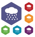 Rain rhombus icons vector image