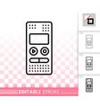 recorder simple black line icon vector image