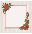 red rose on white vintage wooden background vector image vector image