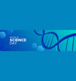 science day abstract web banner with blue dna vector image