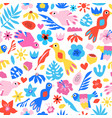 seamless pattern tropical birds flowers vector image vector image