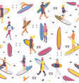 seamless pattern with surfers and syrf boards vector image