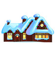 set cozy rustic small houses with glowing vector image vector image