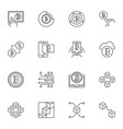 set of blockchain outline icons on white vector image