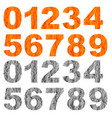 set of grunge orange grey numbers vector image