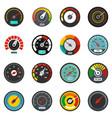 speedometer level indicator icons set flat style vector image