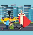 superhero urban flat background vector image