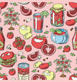 tomato seamless pattern juicy tomatoes food vector image vector image