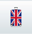 travel luggage bag with united kingdom flag vector image